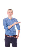 De trotse mens toont uw tekst Royalty-vrije Stock Foto