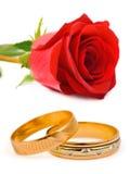 De trouwringen en namen toe Royalty-vrije Stock Foto's