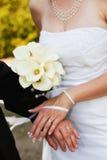 De Trouwringen van de bruid en van de Bruidegom Stock Foto's