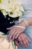 De Trouwringen van de bruid en van de Bruidegom Stock Afbeeldingen