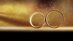 De trouwringen worden verlicht door stralen van licht Voor de hieronder titels stock video