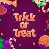 De truc of behandelt De banner van Halloween Kleurrijke snoepjes en suikergoedpictogrammen Stock Afbeeldingen