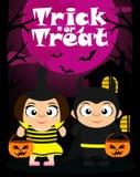 De truc of behandelt Halloween-achtergrond met jonge geitjes royalty-vrije illustratie