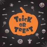 De truc of behandelt Halloween achtergrond Vector malplaatje voor ontwerp Stock Afbeelding