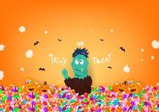 De truc of behandelt, Halloween-dag, zombiemonster, suikergoed en leuke pompoen, het beeldverhaalkarakter van het vieringsfestiva royalty-vrije illustratie