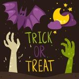 De truc of behandelt Halloween-kaart Stock Afbeelding