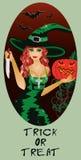 De truc of behandelt Halloween-kaart, Heks en mes Royalty-vrije Stock Afbeelding