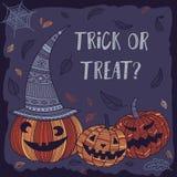 De truc of behandelt Halloween-kaart met leuke pompoenen Royalty-vrije Stock Afbeeldingen