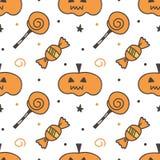 De truc of behandelt Halloween-pompoen en van het snoepjes naadloze patroon achtergrond Stock Foto's