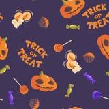 De truc of behandelt Het naadloze patroon van Halloween Stock Afbeeldingen