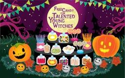 De truc of behandelt het Vrije Suikergoed van Halloween voor Begaafde Jonge Heksen Vectorillustratie Stock Fotografie