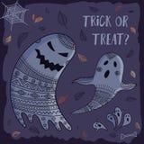 De truc of behandelt mooie Halloween-kaart met spoken Royalty-vrije Stock Afbeelding