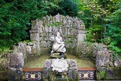 De trucfontein in Hellbrunn-paleis, Salzburg, Oostenrijk Stock Foto's