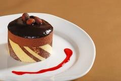 De truffelcake van de chocolade met de saus van de notenframboos Royalty-vrije Stock Fotografie