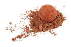 De truffelsuikergoed van de chocolade in cacaopoeder stock afbeeldingen