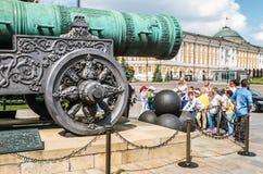 De Tsaar Pushka van het Tsaarkanon op het Ivanovskaya-vierkant in K Royalty-vrije Stock Foto's