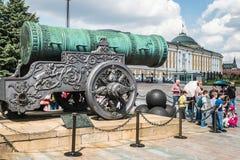 De Tsaar Pushka van het tsaarkanon op het Ivanovskaya-vierkant in Krem Royalty-vrije Stock Fotografie