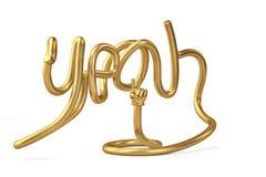 De tube de forme alphabet ouais avec la main d'or illustration 3D illustration de vecteur