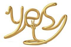 De tube de forme alphabet oui avec la main d'or illustration 3D illustration libre de droits