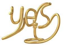 De tube de forme alphabet oui avec la main d'or illustration 3D illustration stock