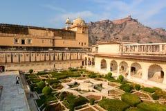 De tuin Amer Palace (of Amer Fort) jaipur Rajasthan India Royalty-vrije Stock Afbeeldingen