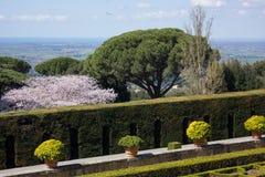 De tuin van de paus in Castel Gandolfo stock foto