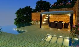 De tuin van de Villa van de luxe - Nacht stock fotografie