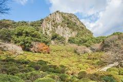 De tuin van Mifuneyamarakuen in Saga, noordelijke Kyushu, Japan royalty-vrije stock afbeelding