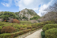 De tuin van Mifuneyamarakuen in Saga, noordelijke Kyushu, Japan stock fotografie