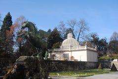 De Tuin van Salzburg Salisburg Salisburgo met Standbeeld Royalty-vrije Stock Foto