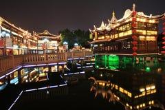 De Tuin van Yuyuan bij Nacht, Shanghai, China Royalty-vrije Stock Fotografie