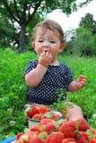 De tuinbedden dichtbij het meisje zit, en dichtbijgelegen is het royalty-vrije stock fotografie