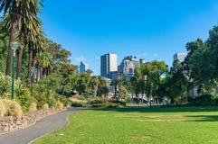 De tuinen van Alexandra met mening over cityscape van Melbourne royalty-vrije stock fotografie