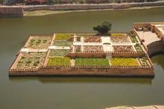 De Tuinen van Kesarkyari van Amberpaleis, Jaipur, India Royalty-vrije Stock Foto