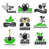 De tuinierende de dienst en tuinmalplaatjes van het installatiesembleem voor tuinman en landbouw stock illustratie