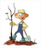 De tuinman plant een boom Stock Illustratie