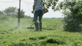 De tuinman snijdt het gras in openlucht met een grasmaaier stock footage
