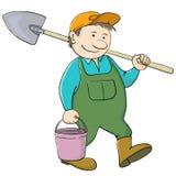 De tuinman van de mens met emmer en schop Stock Afbeelding
