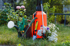 De tuinspuitbus van het meststoffenpesticide, gieter en één of andere garde stock fotografie