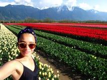De Tulp van de Selfievrouw stock fotografie