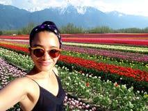 De Tulp van de Selfievrouw royalty-vrije stock afbeelding