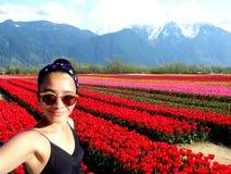 De Tulp van de Selfievrouw stock afbeelding