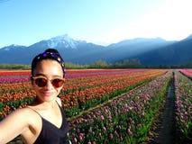 De Tulp van de Selfievrouw stock foto's