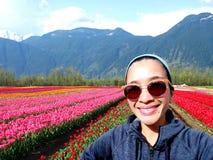 De Tulp van de Selfievrouw stock foto