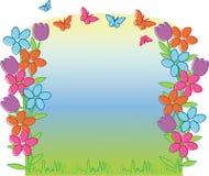De tulpen en de vlinders van de lente Royalty-vrije Stock Afbeeldingen