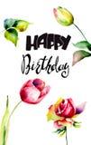 De tulpen en namen bloemen met titel Gelukkige Verjaardag toe stock illustratie