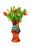 De tulpen van bloemen in vaas Royalty-vrije Stock Afbeeldingen