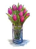 De tulpen van de handtekening in een glasvaas Stock Foto's
