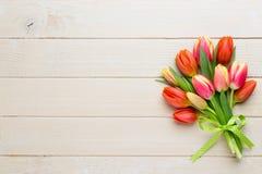De tulpen van de lentepasen in emmer op witte uitstekende achtergrond stock afbeeldingen