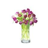 De tulpenbloemen van Beautifil in een vaas met weg Stock Afbeelding